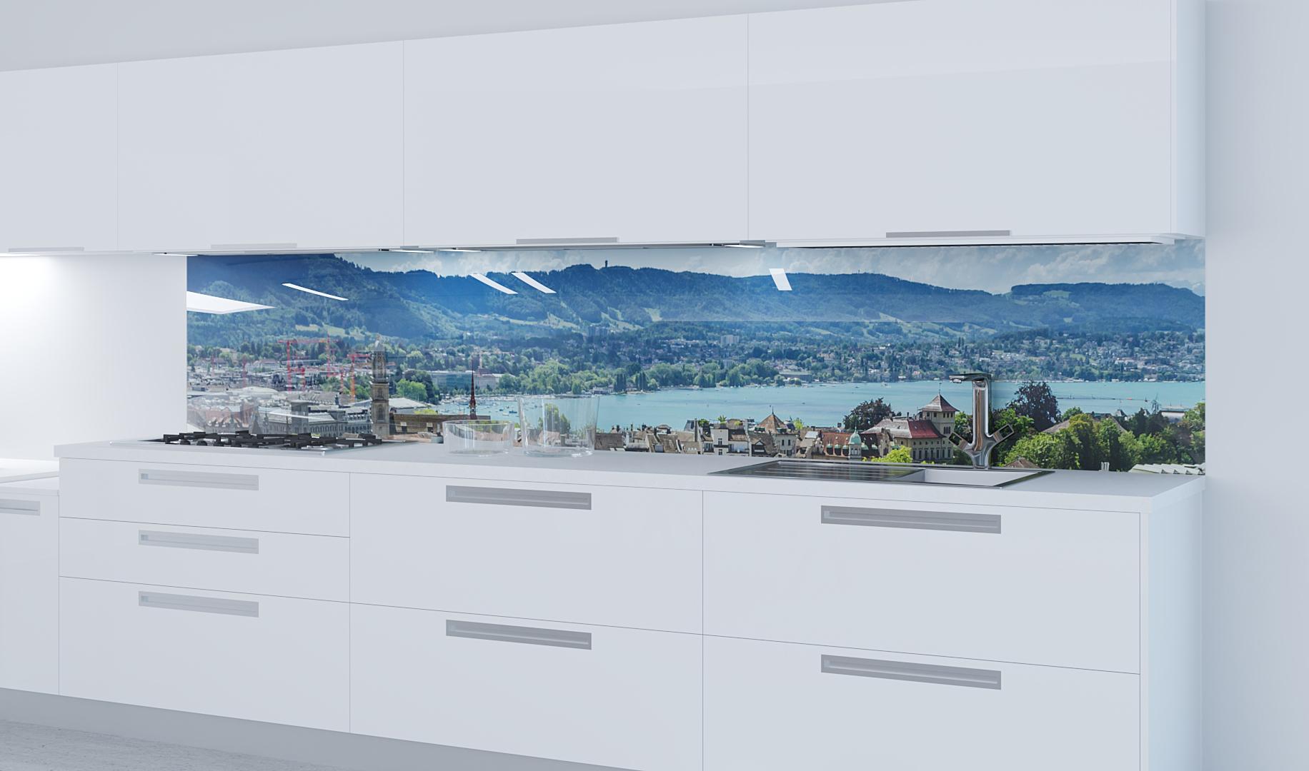 Küchenrückwand aus Glas mit Motivdruck Landschaft